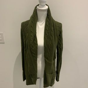 Ralph Lauren Army Green Cable Knit Cardigan L